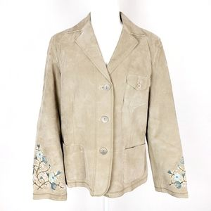 J. Jill Tan Suede Floral Embroidered Jacket sz M
